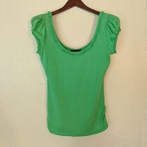 Miss Selfridge size 12 neon green lime scoop tee